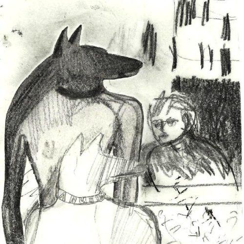 tekeningen 2009 Anubis waiting 4