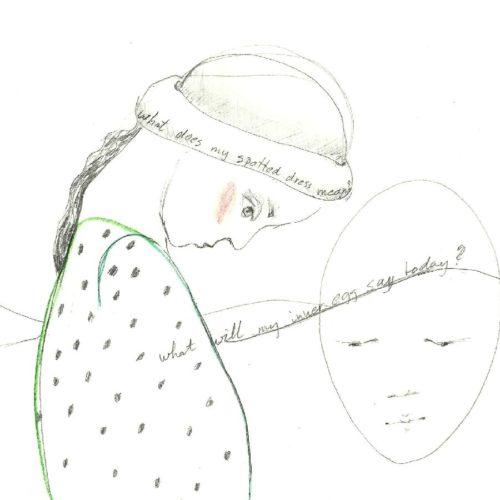 tekeningen 2011- spotted dress, inner egg